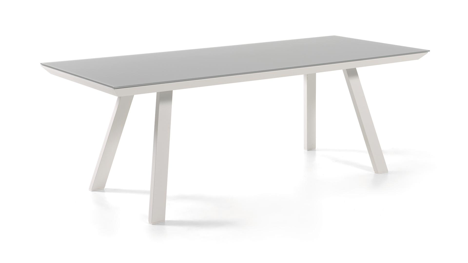 Tuintafel Met Glazen Bovenblad.Alu Tuintafel Versace White Light Grey 220 100cm