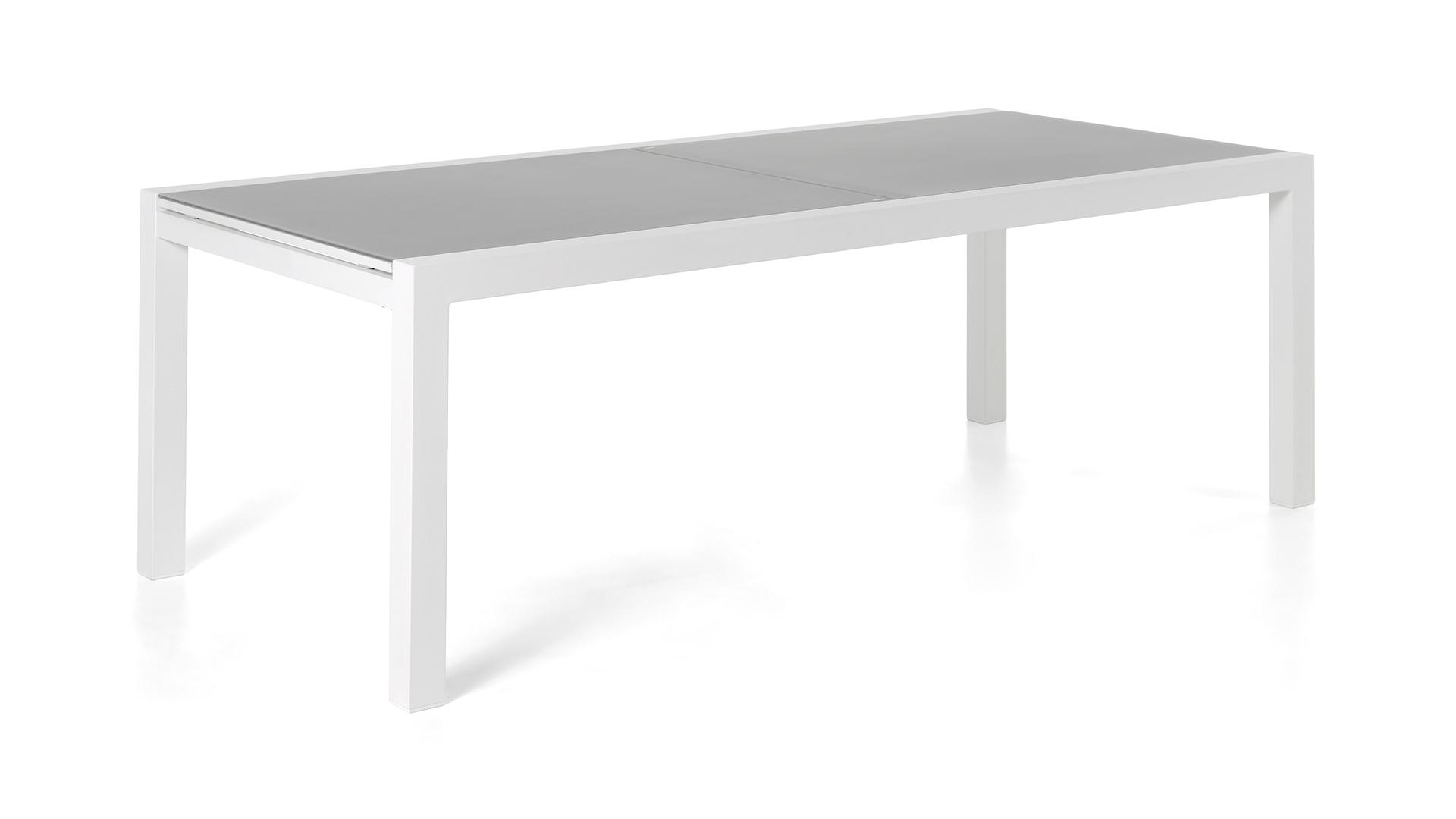 Tuintafel Met Glazen Bovenblad.Alu Tuintafel Lugano White 220 330x106cm Glas Light Grey
