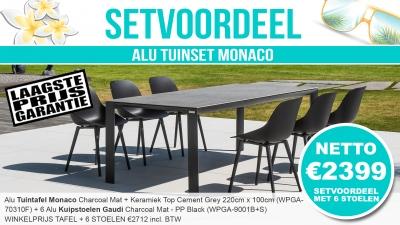 Set Alu Tuinset Monaco Charcoal Mat Met Keramiek Top 220x100cm + 6 Gaudi Tuinstoelen