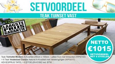 Set Teak Tuinset Modern Vast 240x100cm + 6 Teak Vouwstoelen