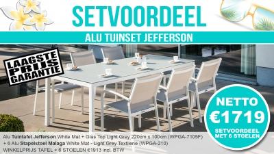 Set Alu Tuinset Jefferson White Mat 220x100cm + 6 Malaga Tuinstoelen