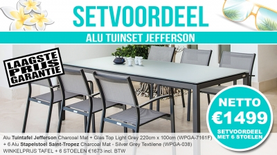 Set Alu Tuinset Jefferson Charcoal 220x100cm + 6 Saint-Tropez Tuinstoelen