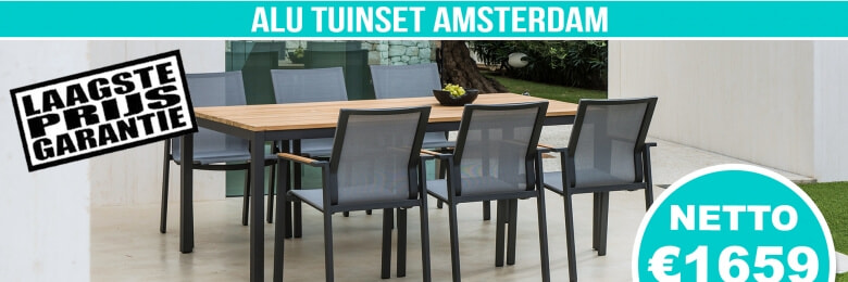 Set Alu Tuinset Amsterdam Charcoal Mat 220x100cm + 6 Brooklyn Tuinstoelen