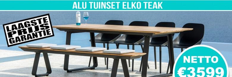 Set Alu Tuinset Elko Charcoal Mat 240x90cm + 4 Gaudi Tuinstoelen