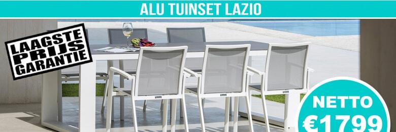 Set Alu Tuinset Lazio White Mat 220x100cm + 6 Sydney Tuinstoelen