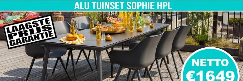 Set Alu Tuinset Sophie Carbon Black 240x100cm + 6 Sophie Studio Tuinstoelen