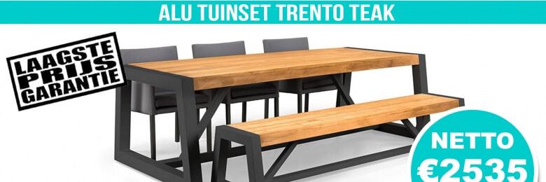 Set Alu Tuinset Trento Royal Grey 250x100cm + Tuinbank + 3 Armstoelen