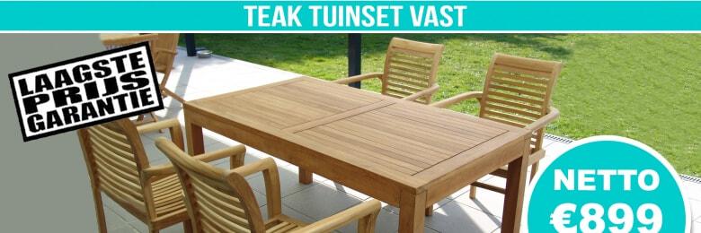 Set Teak Tuinset Modern Vast 160x90cm + 4 Teak Stapelstoelen