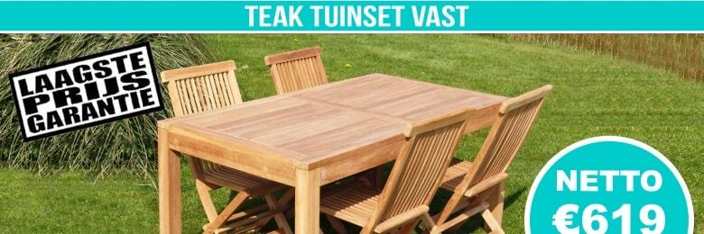 Set Teak Tuinset Modern Vast 160x90cm + 4 Teak Vouwstoelen
