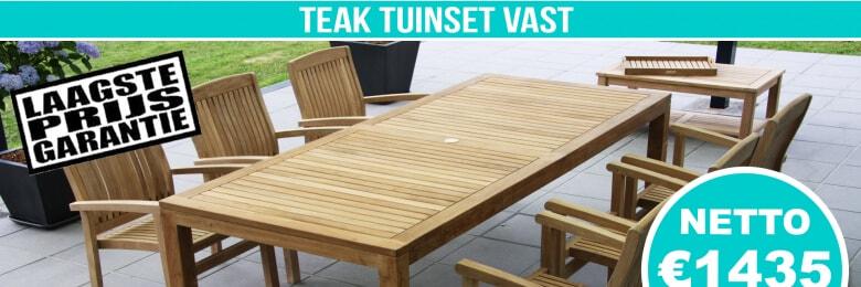 Set Teak Tuinset Modern Vast 240x100cm + 6 Teak Stapelstoelen