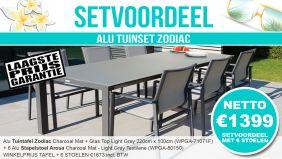 Set Alu Tuinset Zodiac Charcoal Mat 220x100cm + 6 Arosa Tuinstoelen