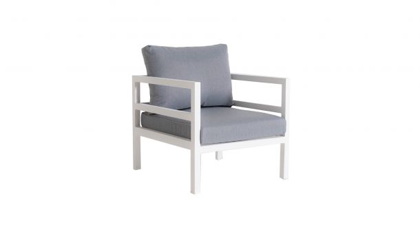 Suns Alu Barolo Club Chair White Mat + Washed Grey Kussens