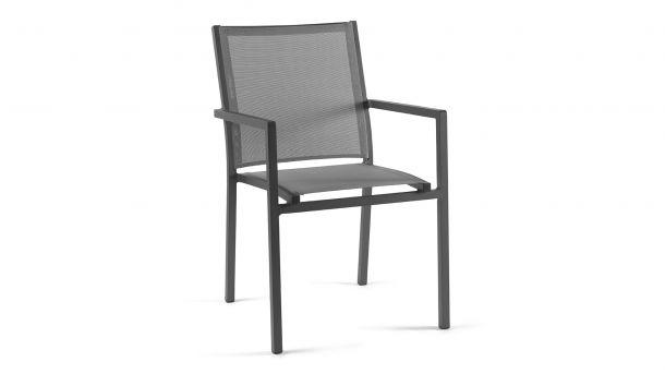 Alu Stapelstoel Bari Charcoal Mat - Tex Silver Grey