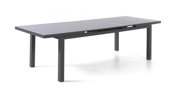 Alu Tuintafel Calvi Charcoal 220-280x100cm Glas Light Grey