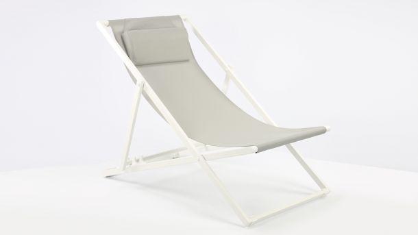 Garden Prestige Alu Ligbed Libec Transat White Mat - Light Grey Textilene