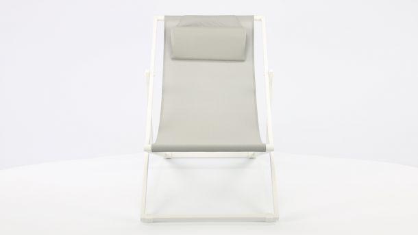 Garden Prestige Alu Ligbed Libec Transat White Mat - Light Grey Textilene Voorkant