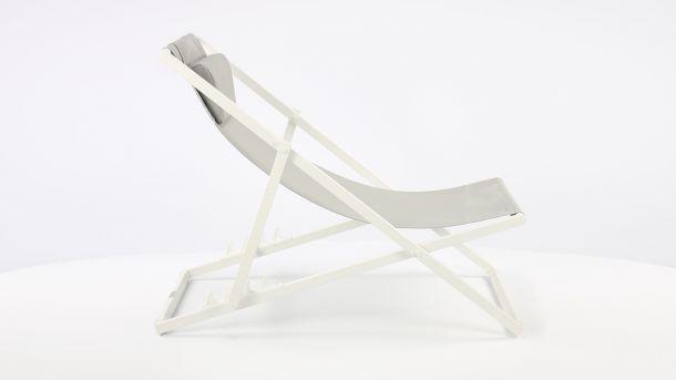 Garden Prestige Alu Ligbed Libec Transat White Mat - Light Grey Textilene Zijkant