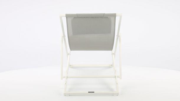 Garden Prestige Alu Ligbed Libec Transat White Mat - Light Grey Textilene Achterkant