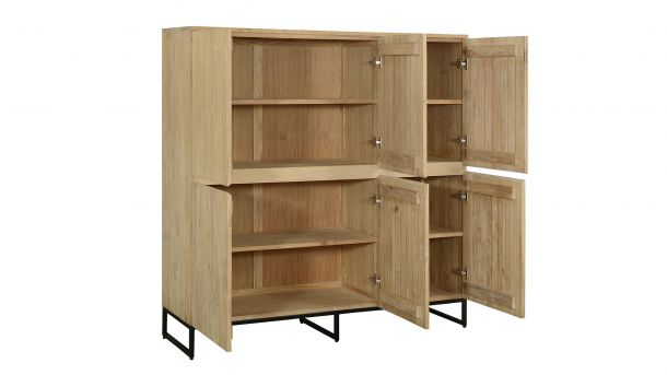 Teakline Collection Teak Barkast Modena 6 Draaideuren 150x47x128cm Side Open