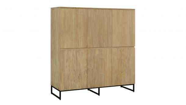 Teakline Collection Teak Barkast Modena 6 Draaideuren 150x47x128cm Side