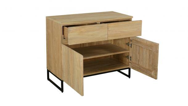 Teakline Collection Teak Dressoir Modena 2 Draaideuren 2 Laden 100x47x85cm Zijkant Open