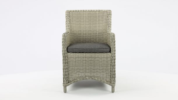 Luxury Lounge Wickerzetel Boston Light Koboo Grey Met Kussen Voorkant