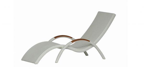 Luxury Lounge Wicker Ligbed Wave White Tie