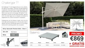 Platinum Zweefparasol Challenger T2 Manhattan White 300x300cm + Salerno Voet