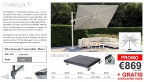 Platinum Zweefparasol Challenger T2 Manhattan White 300x300cm + 120kg Modena Voet Black