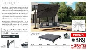 Platinum Zweefparasol Challenger T2 Faded Black 300x300cm + Modena Voet