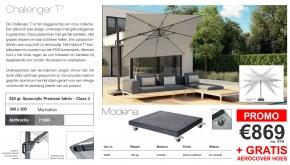 Platinum Zweefparasol Challenger T2 Manhattan 300x300cm + 120kg Modena Voet Black