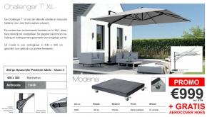 Platinum Zweefparasol Challenger T1 XL Manhattan 400x300cm + 120kg Modena Voet Black