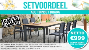 Set Alu Tuinset Braga Black Mat 202x100cm + 6 Bilbao Tuinstoelen