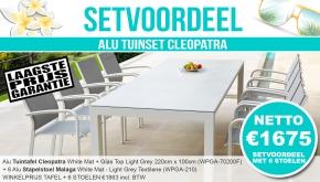 Set Alu Tuinset Cleopatra White Mat 220x100cm + 6 Malaga Tuinstoelen