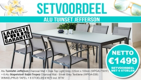 Set Alu Tuinset Jefferson Charcoal 220x100cm + 6 Saint-Tropez Tuinstoelen