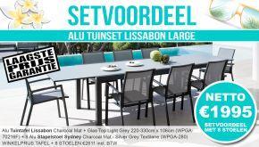 Set Alu Tuinset Lissabon Charcoal Mat 220-330x106cm + 8 Sydney Tuinstoelen