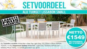 Set Alu Tuinset Lissabon White Mat 152-228x90cm + 6 Sydney Tuinstoelen