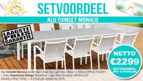 Set Alu Tuinset Monaco White Mat 280x100cm + 8 Malaga Tuinstoelen