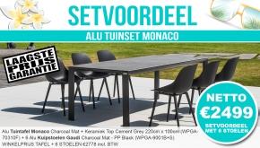 Set Alu Tuinset Monaco Charcoal Mat 220x100cm + 6 Gaudi Tuinstoelen