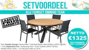Set Alu Tuinset Omnigo Charcoal Mat Dia 150cm + 4 Foxx Tuinstoelen