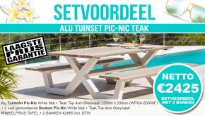 Set Alu Tuinset Pic-Nic White Mat 220x200cm White Mat + 2 Banken Greywash