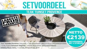 Set Alu Tuinset Provence Greywash Dia 150cm + 4 Delphine Tuinstoelen