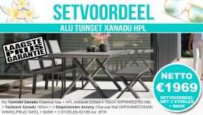 Set Alu Tuinset Xanadu Charcoal Mat 220x100cm + Tuinbank + 3 Annecy Tuinstoelen