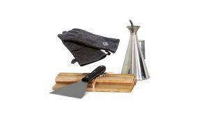 Ofyr Toolset - Oliekan - Spatel - Ceder houten plankjes - Lederen BBQ Handschoenen