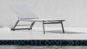 Garden Prestige Alu Ligbed Hydra Warm Grey Mat - Light Grey Textilene