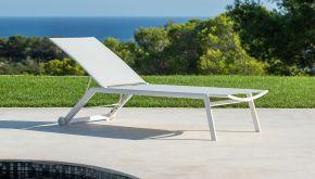 Garden Prestige Alu Ligbed Hydra White Mat - Light Grey Textilene