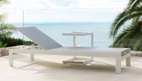 Garden Prestige Alu Ligbed Bastia White Mat - Light Grey Textilene