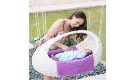Luxury Lounge Wicker Baby Basket Swing Large White Tie